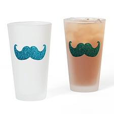 Faux Glitter Mustache in blue Drinking Glass