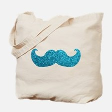 Faux Glitter Mustache in blue Tote Bag