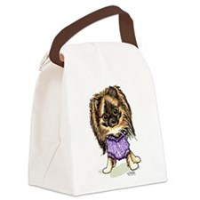 Plum Cute Pomeranian Canvas Lunch Bag