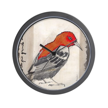 Black and red think bird wall clock by sivieriart for Red and black wall clock