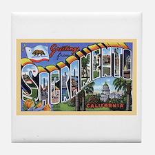 Sacramento California Greetings Tile Coaster