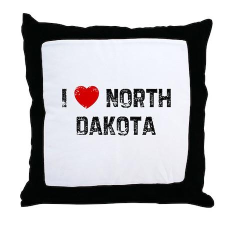 I * North Dakota Throw Pillow