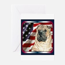 Chinese Shar Pei Flag Greeting Cards (Pk of 10