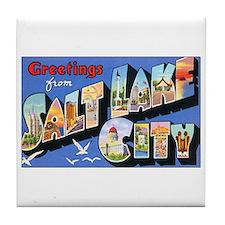 Salt Lake City Utah Greetings Tile Coaster