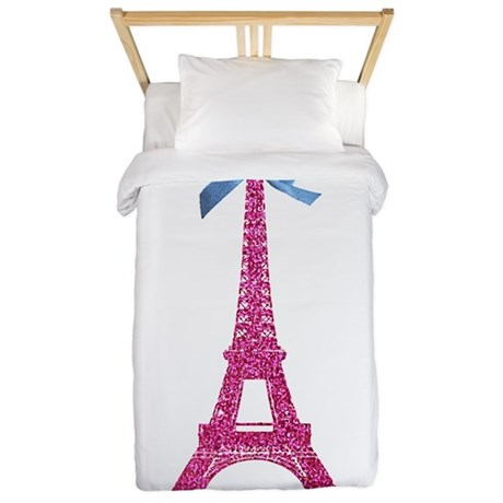 Pink Paris Eiffel Tower Twin Duvet