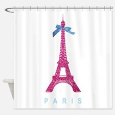 Pink Paris Eiffel Tower Shower Curtain