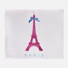 Pink Paris Eiffel Tower Throw Blanket