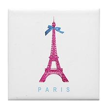Pink Paris Eiffel Tower Tile Coaster
