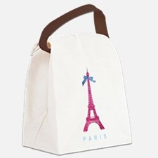Pink Paris Eiffel Tower Canvas Lunch Bag