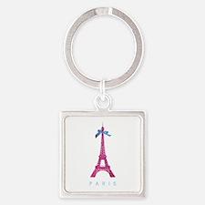 Pink Paris Eiffel Tower Square Keychain