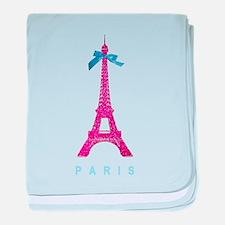 Pink Paris Eiffel Tower baby blanket