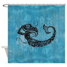 Worn Mermaid Graphic Shower Curtain