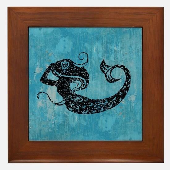 Worn Mermaid Graphic Framed Tile