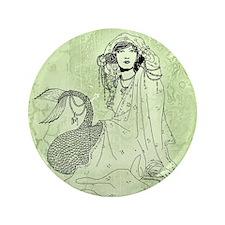 """Mermaid In Shawl 3.5"""" Button"""