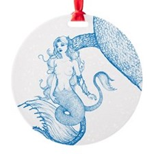 Blue Mermaid Drawing Ornament