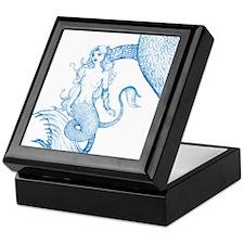 Blue Mermaid Drawing Keepsake Box