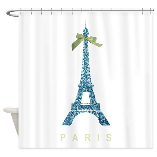 Blue Eiffel Tower Paris Shower Curtain By Inspirationzstore
