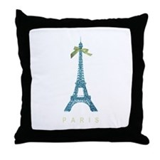 Blue Eiffel Tower Paris Throw Pillow