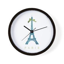 Blue Eiffel Tower Paris Wall Clock