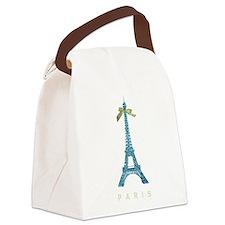 Blue Eiffel Tower Paris Canvas Lunch Bag