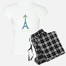 Blue Eiffel Tower Paris Pajamas
