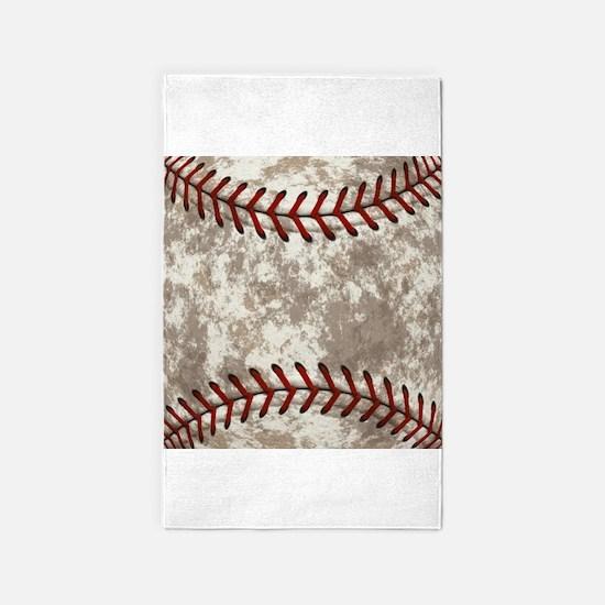 Baseball Vintage Distressed Area Rug