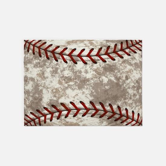 Baseball Vintage Distressed 5'x7'Area Rug