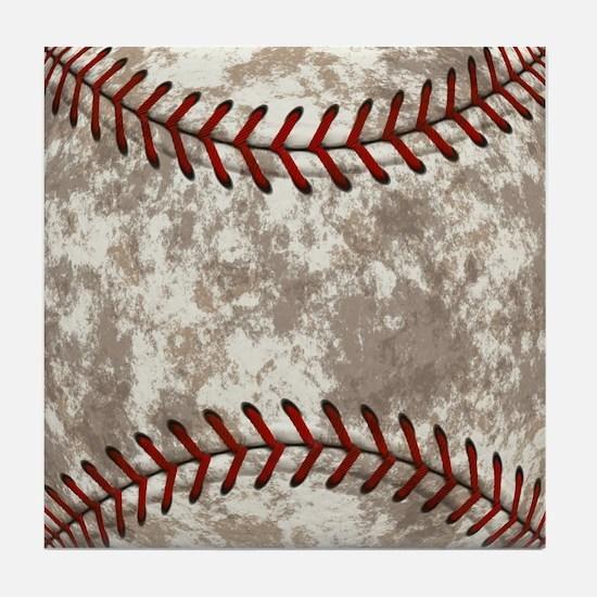 Baseball Vintage Distressed Tile Coaster