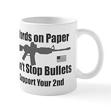 Words don't stop bullets Grey AR-15 Rev Flag Mug