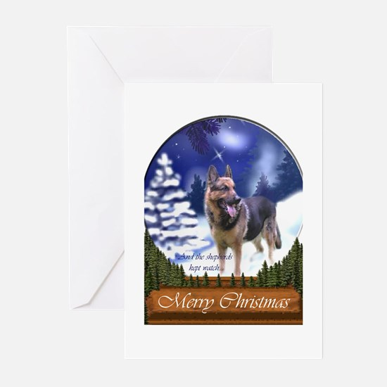 German Shepherd Christma Greeting Cards (Pk of 10)