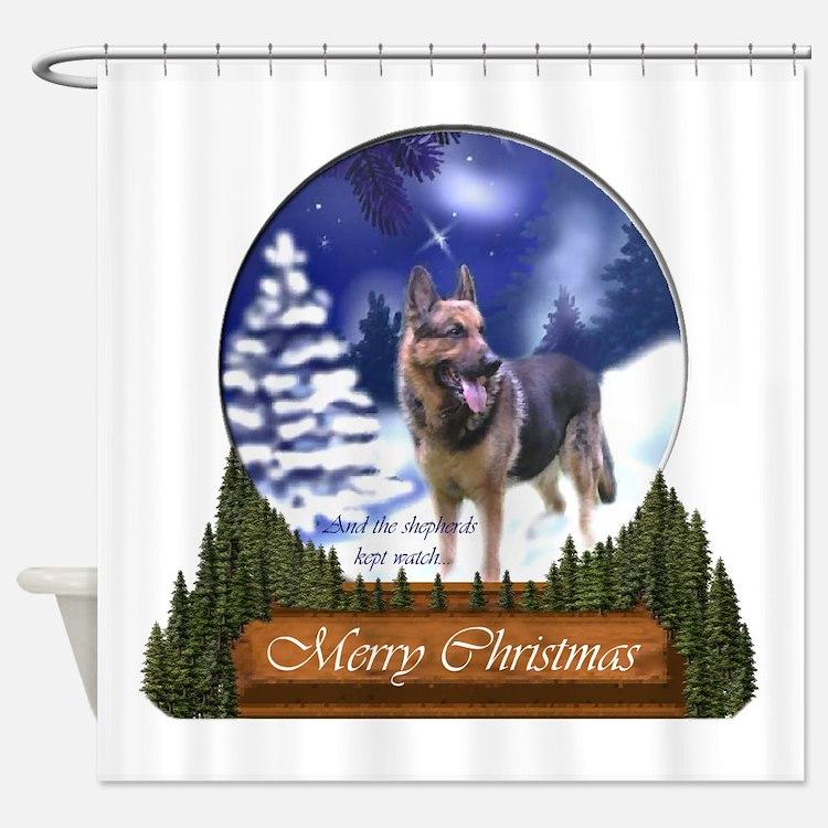 german shepherd christmas shower curtains german shepherd christmas fabric shower curtain liner. Black Bedroom Furniture Sets. Home Design Ideas