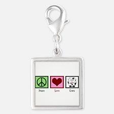 Peace Love Cows Silver Square Charm