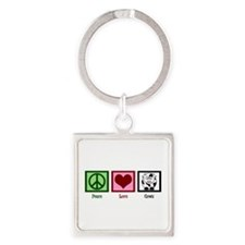 Peace Love Cows Square Keychain