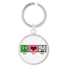 Peace Love Cows Round Keychain