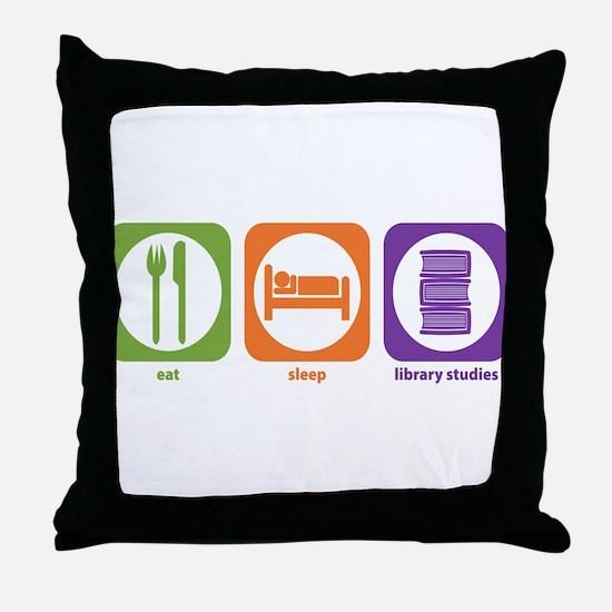 Eat Sleep Library Throw Pillow