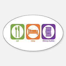 Eat Sleep Library Oval Decal