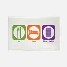 Eat Sleep Library Rectangle Magnet