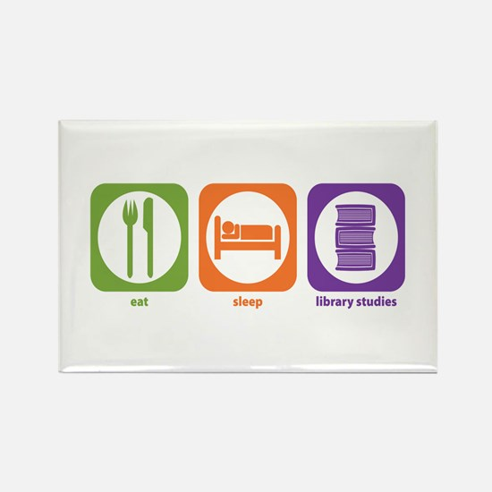 Eat Sleep Library Rectangle Magnet