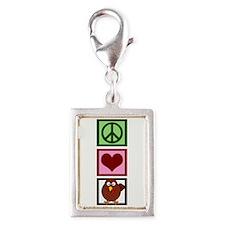 Peace Love Turkey Silver Portrait Charm
