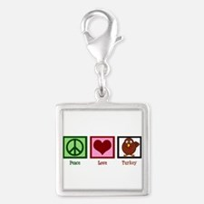 Peace Love Turkey Silver Square Charm