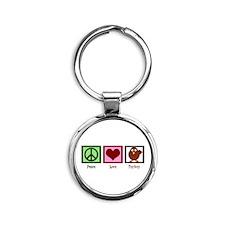 Peace Love Turkey Round Keychain