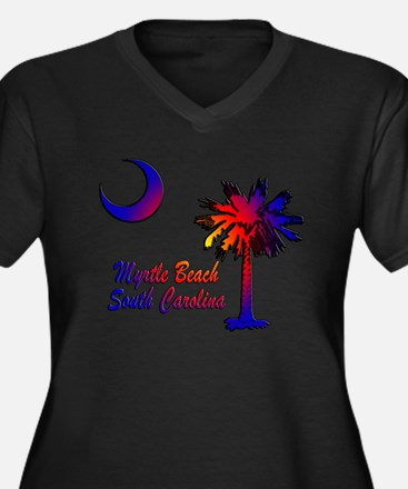 Myrtle Beach 8 Women's Plus Size V-Neck Dark T-Shi