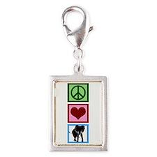Peace Love Elephants Silver Portrait Charm
