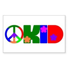 PEACE FLOWER KID Rectangle Decal