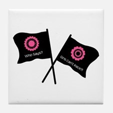Girly Racing Flags Tile Coaster