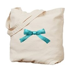 Teal Damask Bow Tote Bag