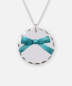 Teal Damask Bow Necklace
