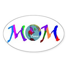 PEACE ON EARTH MOM Oval Decal