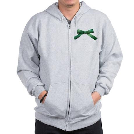 Green Bow Tie Zip Hoodie