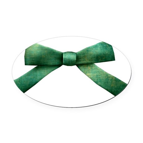 Green Bow Tie Oval Car Magnet